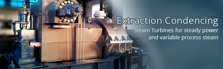 Extraction condensing turbines for steady power and variable process steam